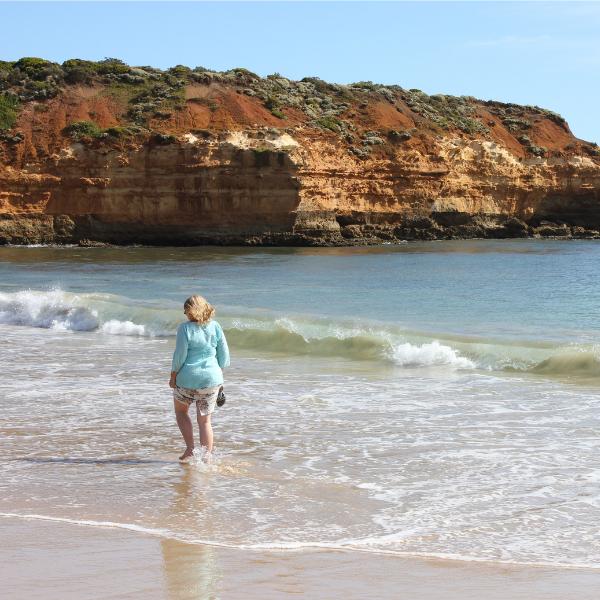 jill walking on australian beach